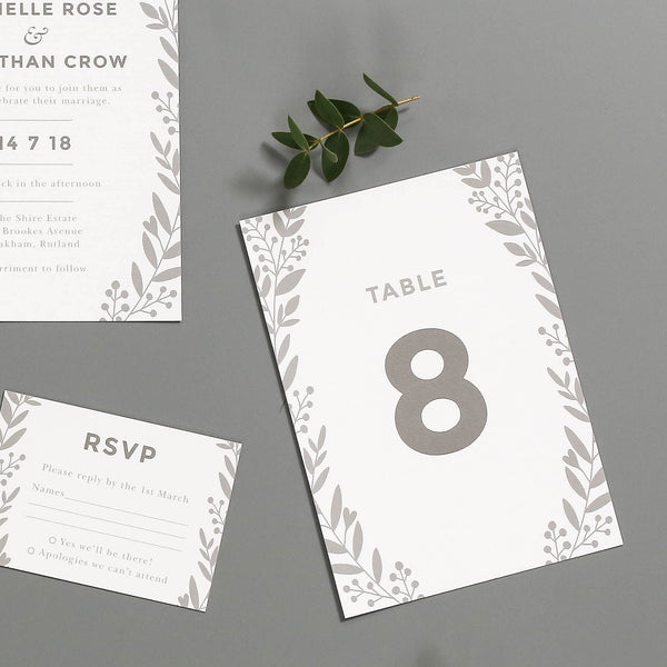 Nordic Foliage Wedding Table Numbers