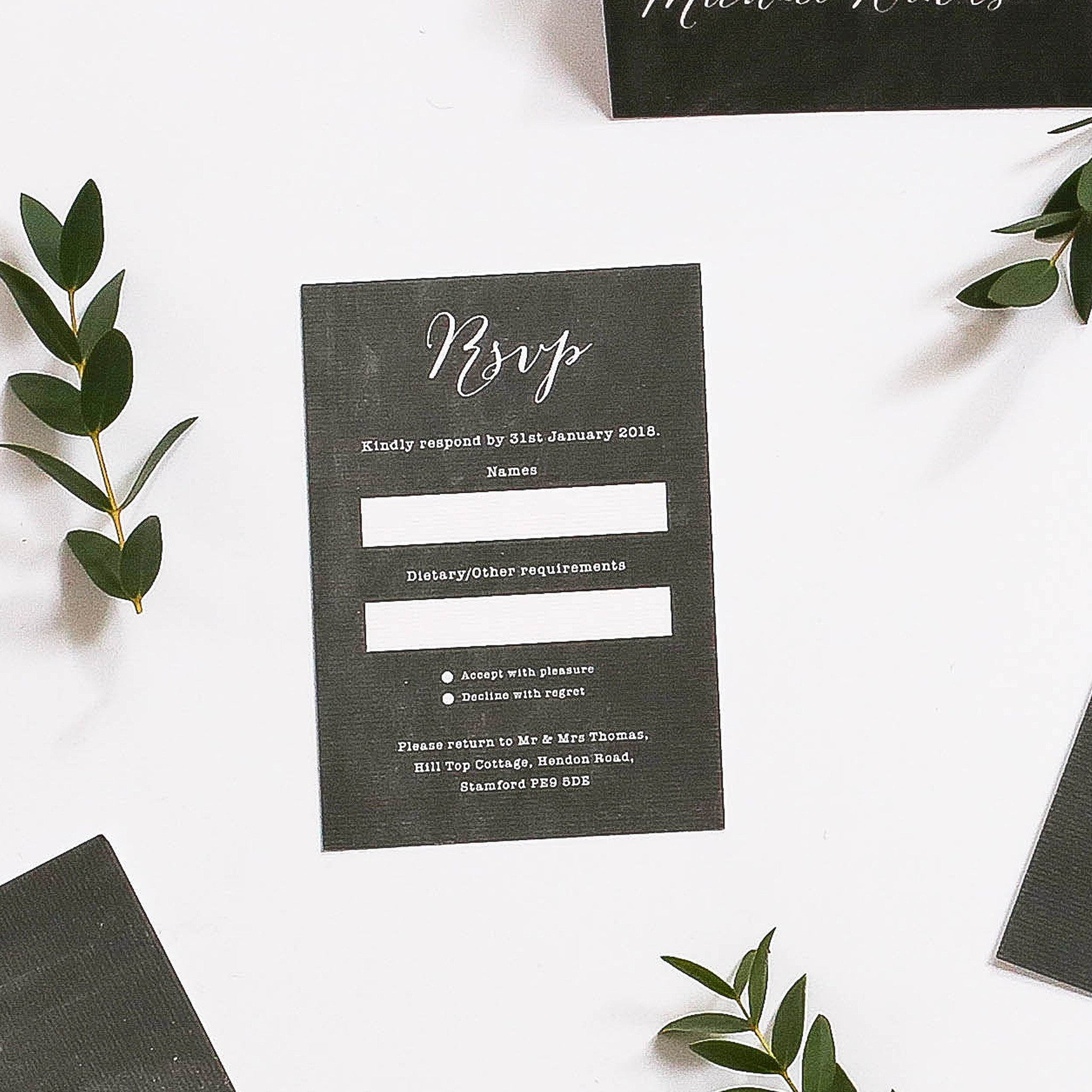 Chalk Board Inspired RSVP Cards