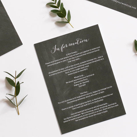Chalk Board Inspired Wedding Information Cards