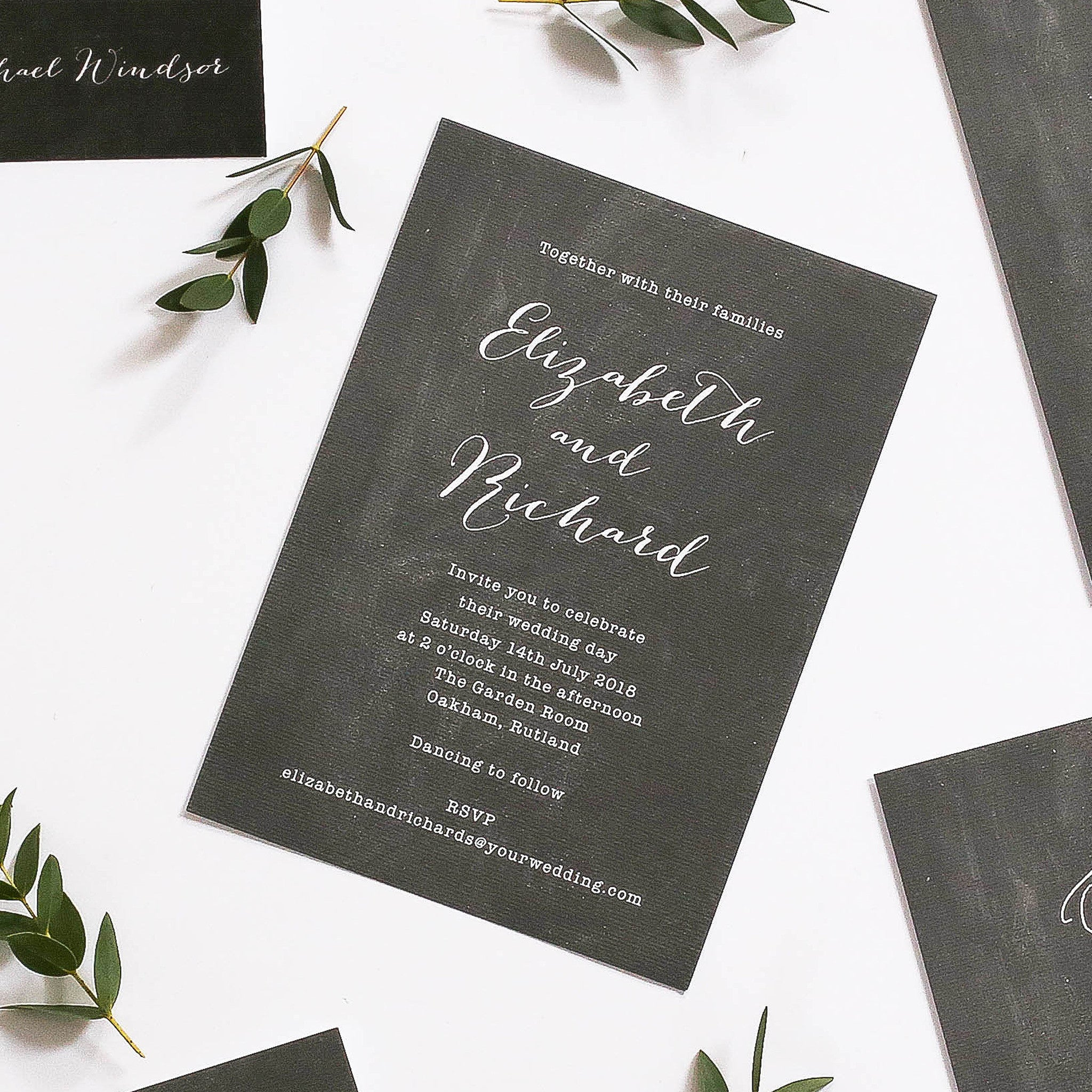 Chalk Board Inspired Wedding Invitations - Hand Lettered Stationery ...