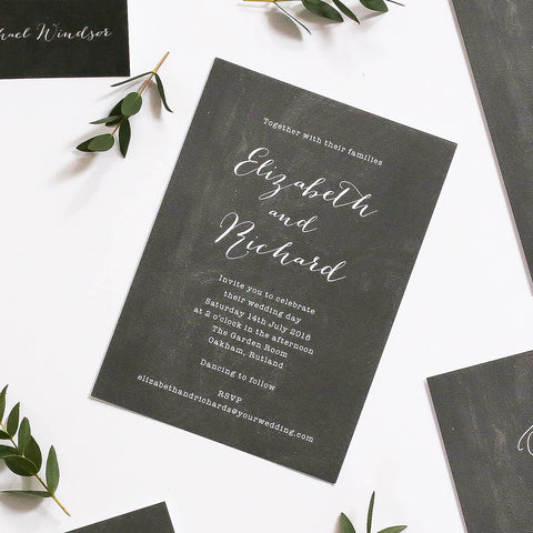 Chalk Board Inspired Wedding Invitation