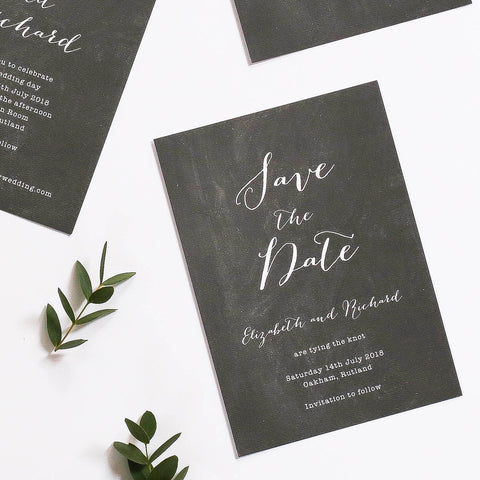 Chalk Board Inspired Save the Dates