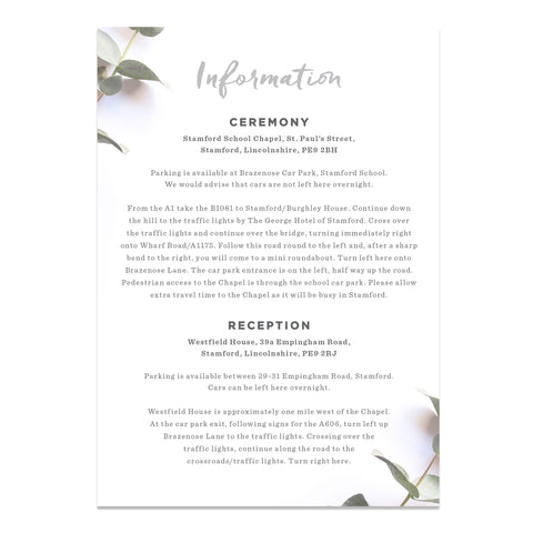 Eucalyptus Wedding Information Cards