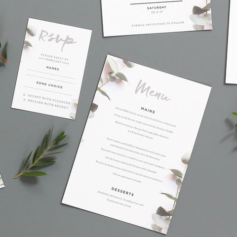 Eucalyptus Wedding Menu