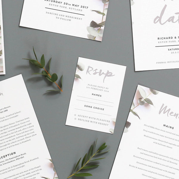 Eucalyptus Wedding Invitations RSVP Cards