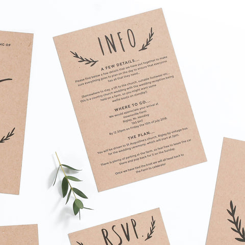 Floral Kraft Wedding Information Cards