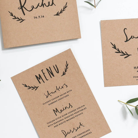 Floral Kraft Wedding Menu