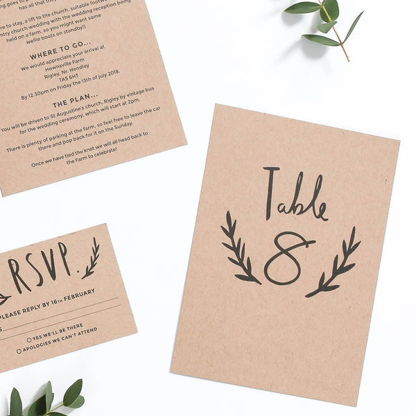 Hand Lettered Kraft Wedding Table Number