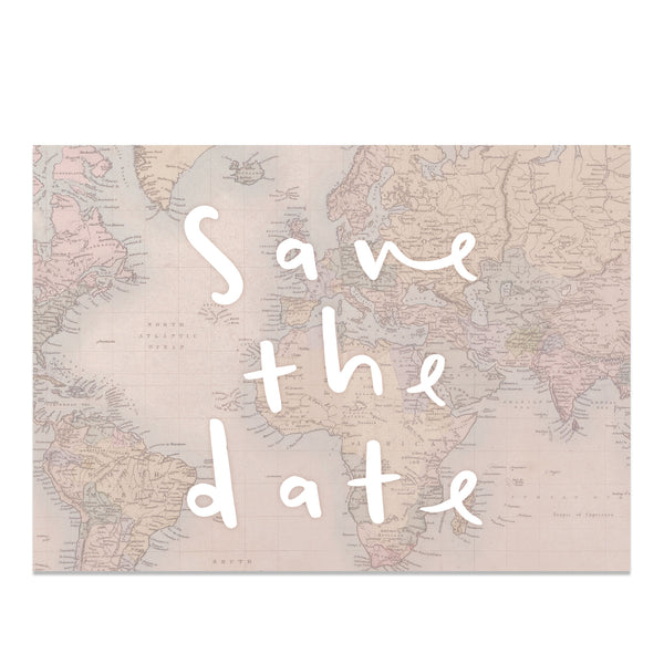 Globe Trotter Map Save The Date Card