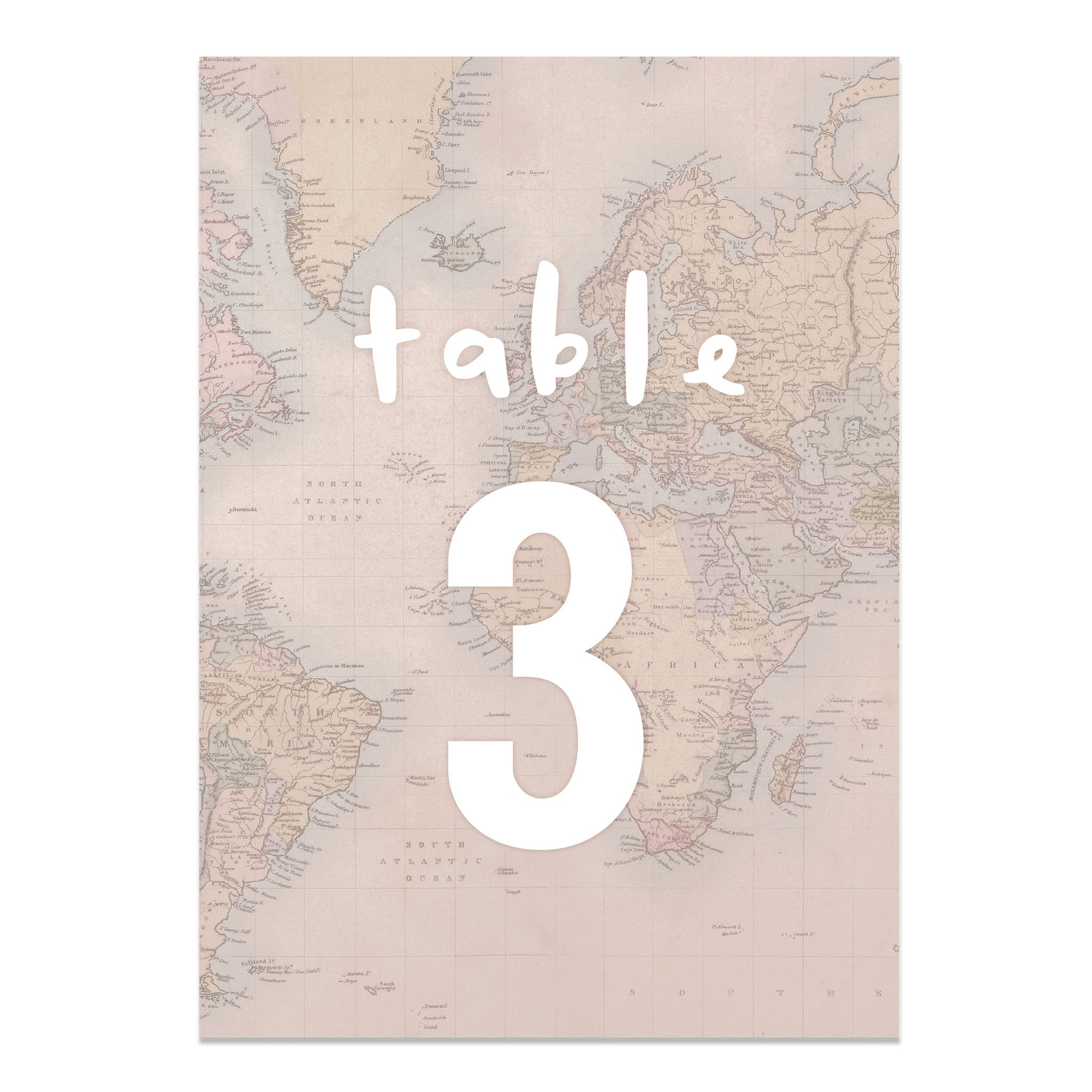 Globe Trotter Map Wedding Table Numbers