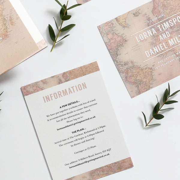 Globe Trotter Map Wedding Information Cards