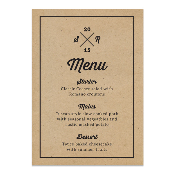 Letterpress Kraft Wedding Menu Cards