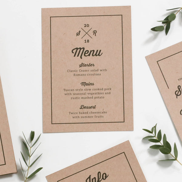 Letterpress Kraft Wedding Menu