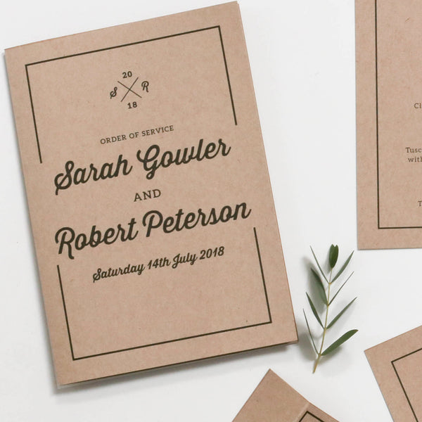 Letterpress Kraft Wedding Order of Service