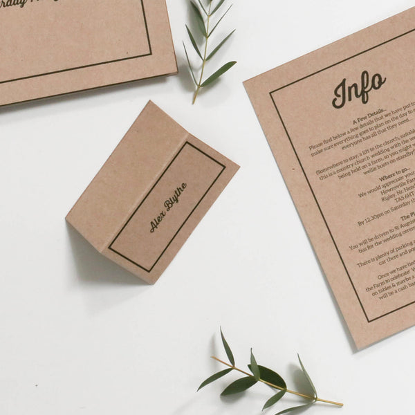 Letterpress Kraft Wedding Name Place Cards