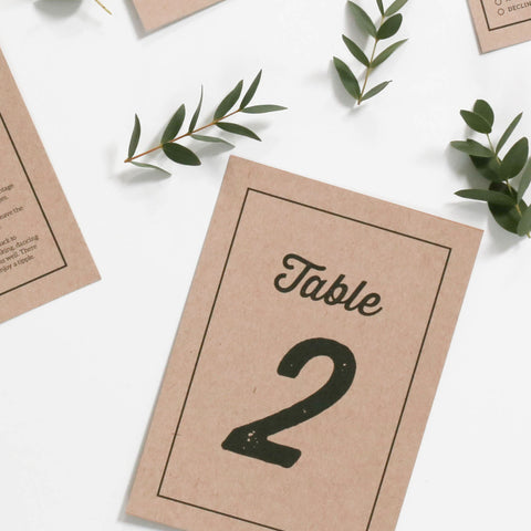 Letterpress Kraft Wedding Table Numbers