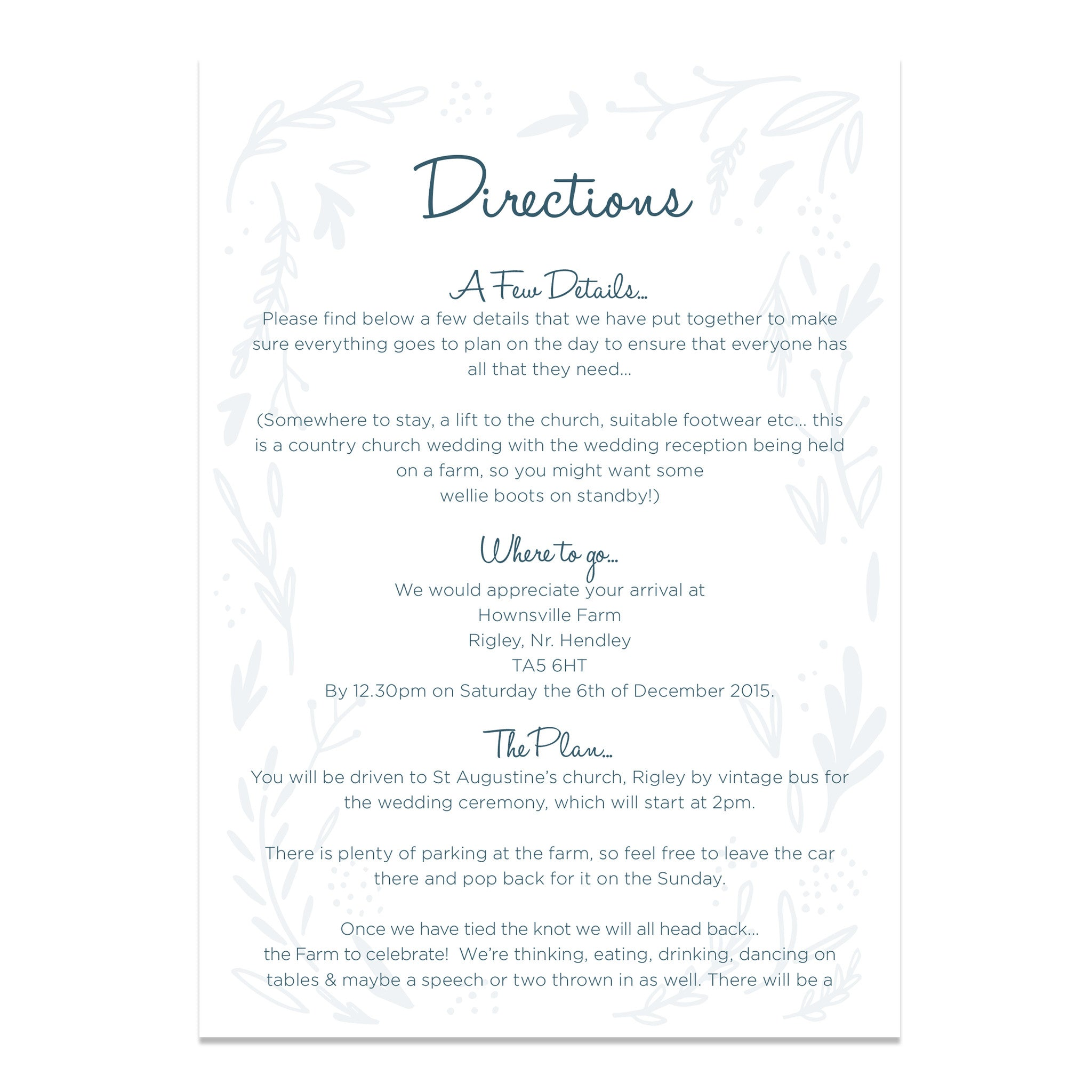 Midnight Hedgerow Hand Lettered Wedding Information Cards | Old ...