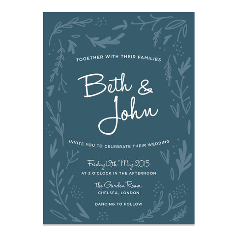 Midnight Hedgerow Wedding Invitation