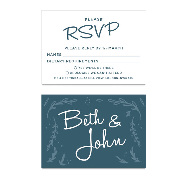 Midnight Hedgerow Wedding RSVP Cards