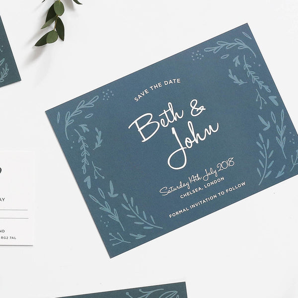 Midnight Hedgerow Wedding Save the Dates
