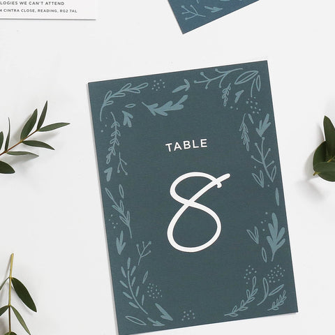 Midnight Hedgerow Wedding Table Numbers