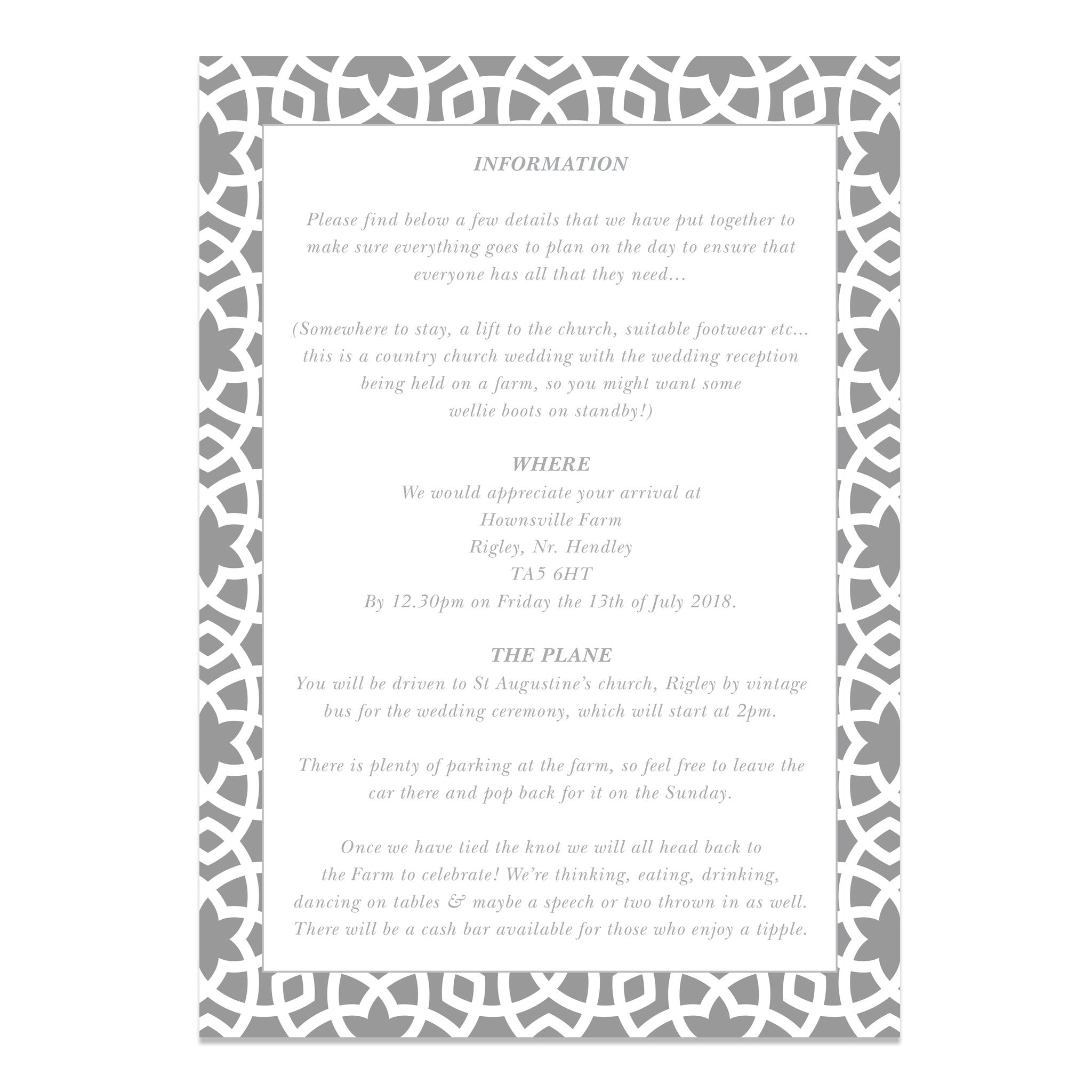 Moroccan Vibes Wedding Information Cards - Wedding Stationery | Old ...