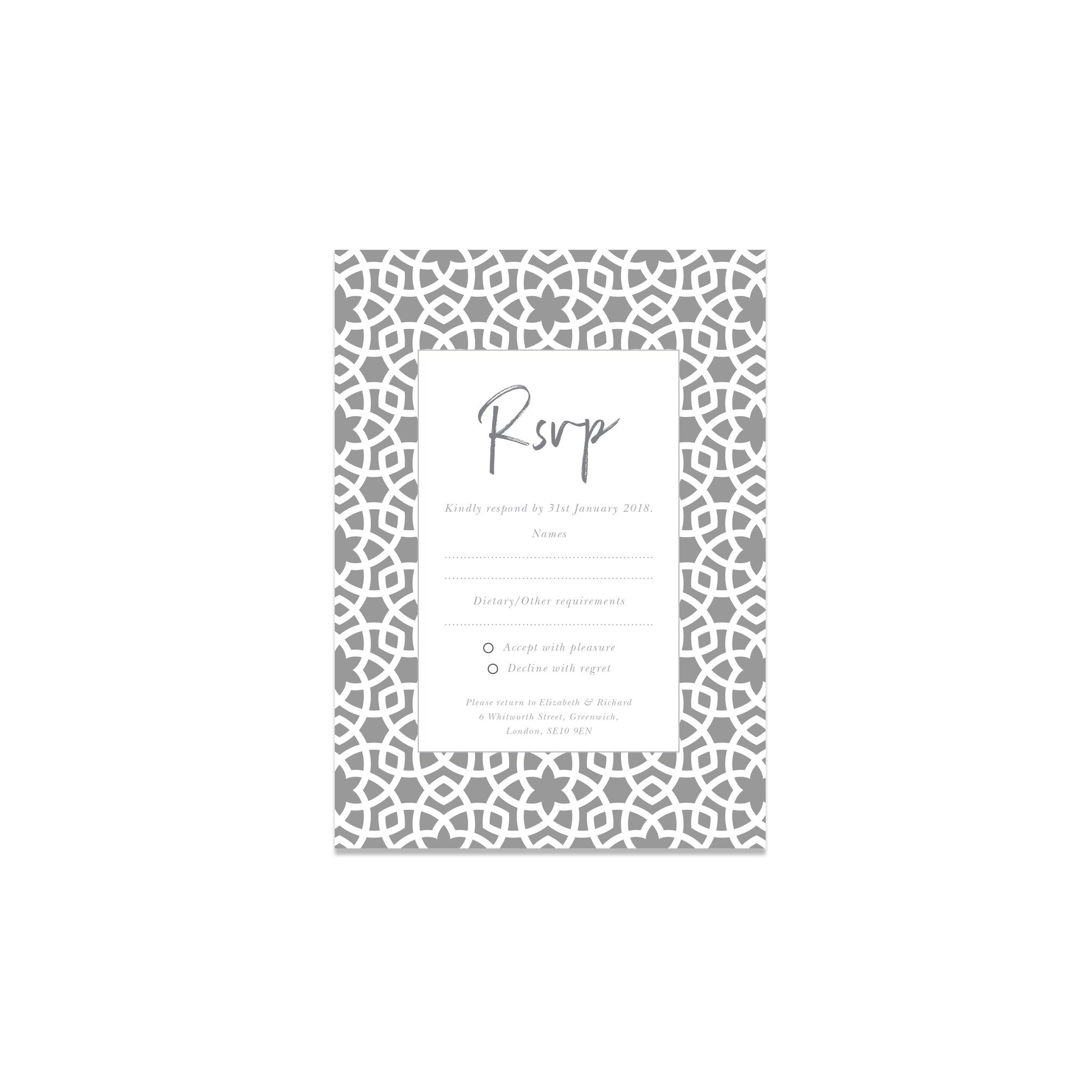 Moroccan inspired wedding stationery