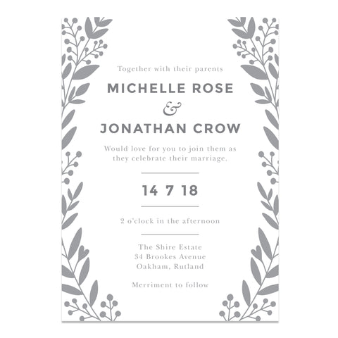 Nordic Foliage Wedding Invitation