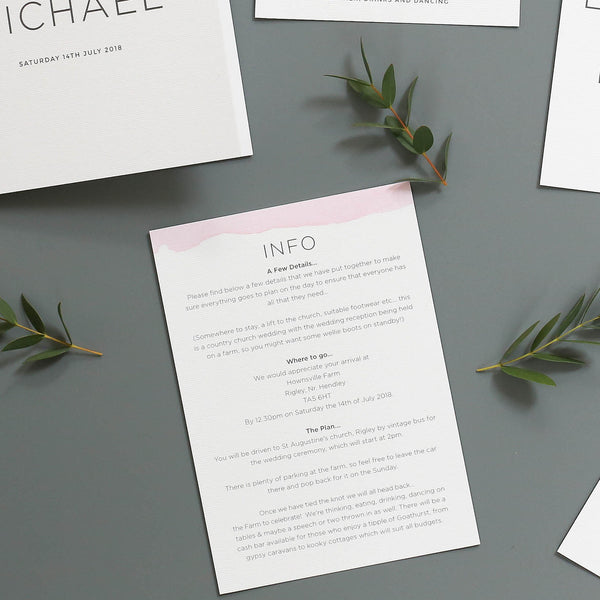 Ombre Watercolour Wedding Information Cards