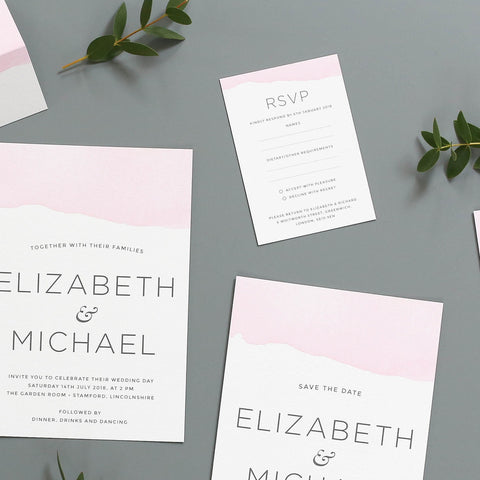 Ombre Watercolour Wedding Invitation RSVP Cards
