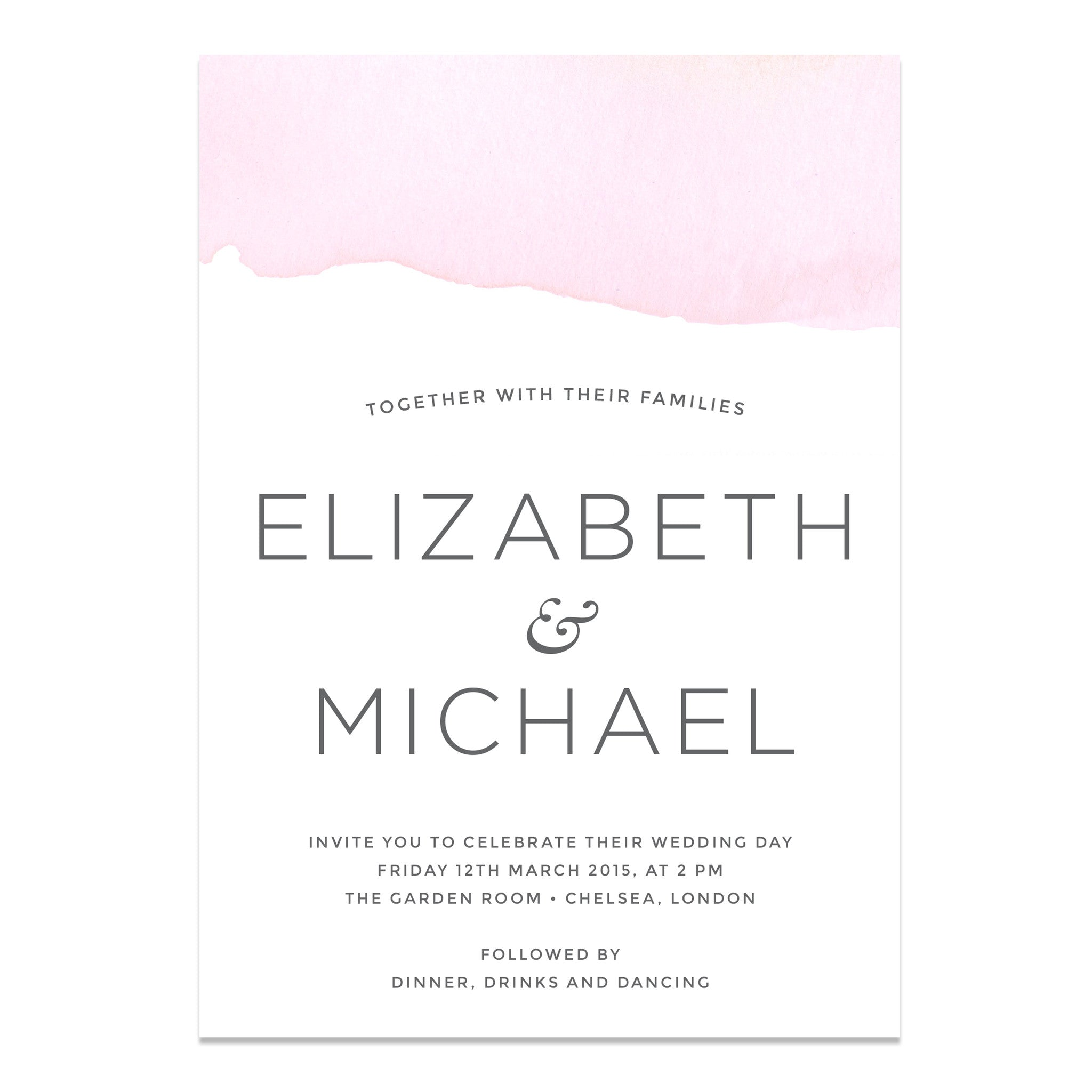 Ombre Water Colour Wedding Invitation