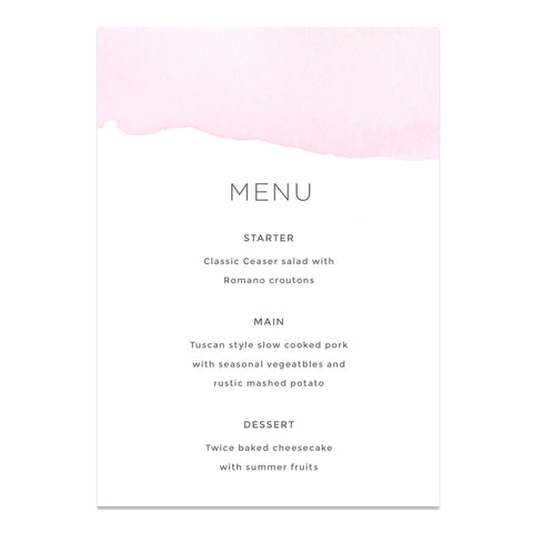 Ombre Watercolour Wedding Menu