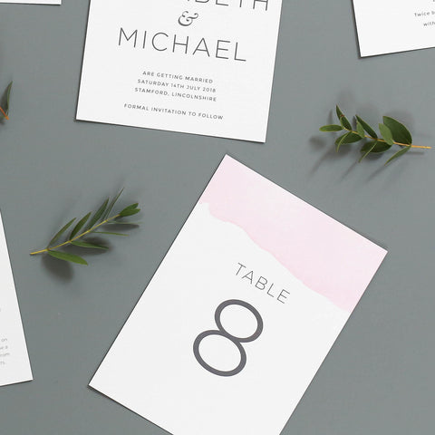 Ombre Watercolour Wedding Table Numbers