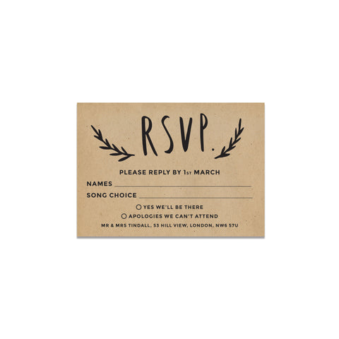 Floral Kraft Wedding Invitation RSVP Cards