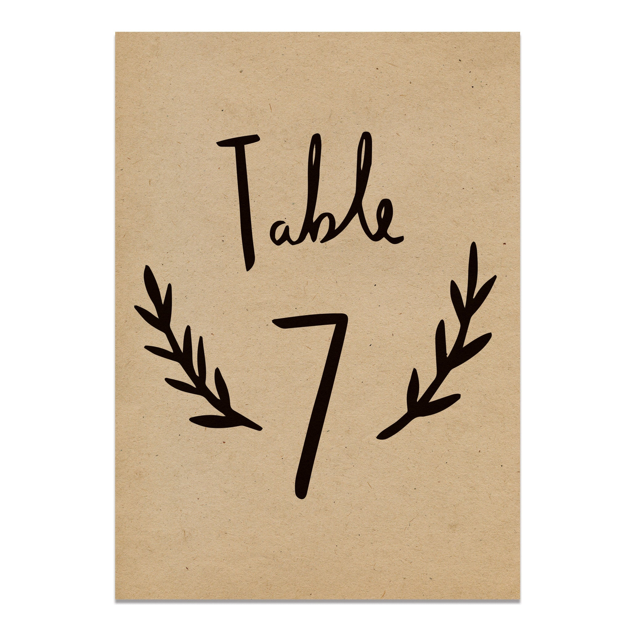 Hand Lettered Kraft Table Number