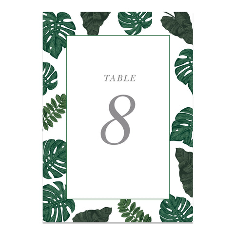 Tropical Wedding Table Numbers