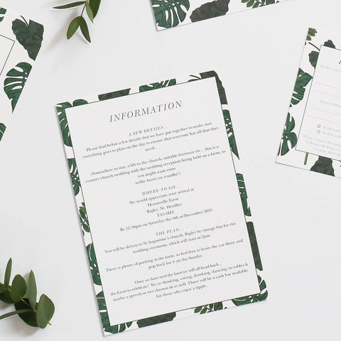 Tropical Wedding Information Cards