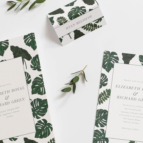 Tropical Wedding Name Place Cards