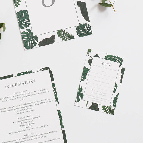 Tropical Wedding Invitations RSVP Cards