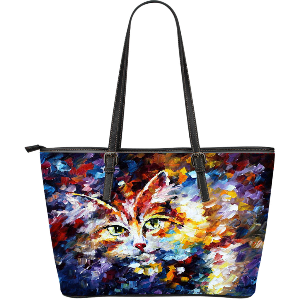 Cat Lovers Leather Tote Bag - Large