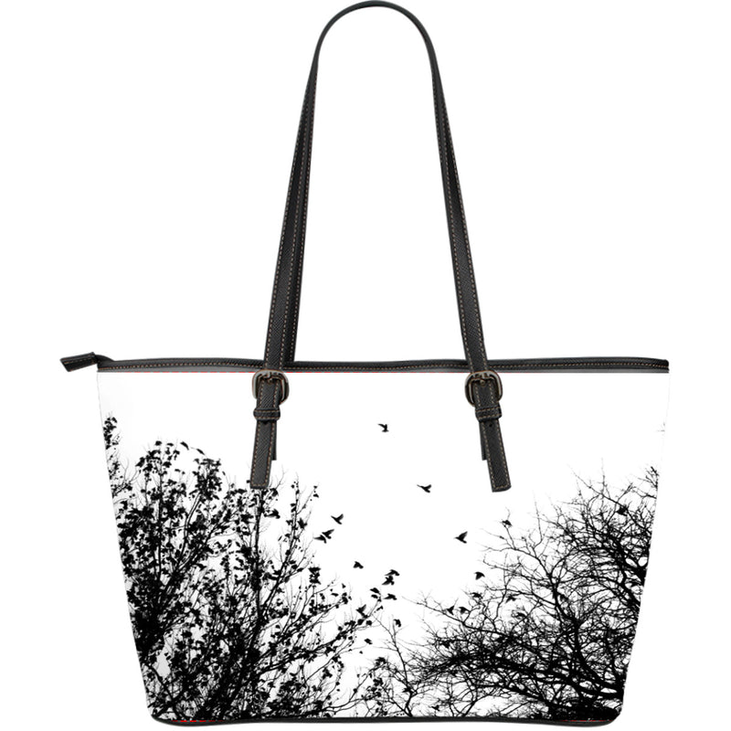 Birds view themed Leather Tote Bag - Large