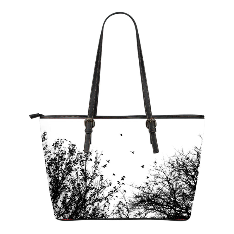 Birds view Leather Tote bag - Small