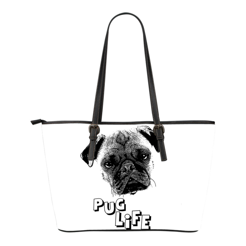 Pug life Leather tote bag - Small