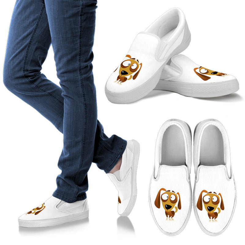 Men's Cartoon Dachshund Slip Ons