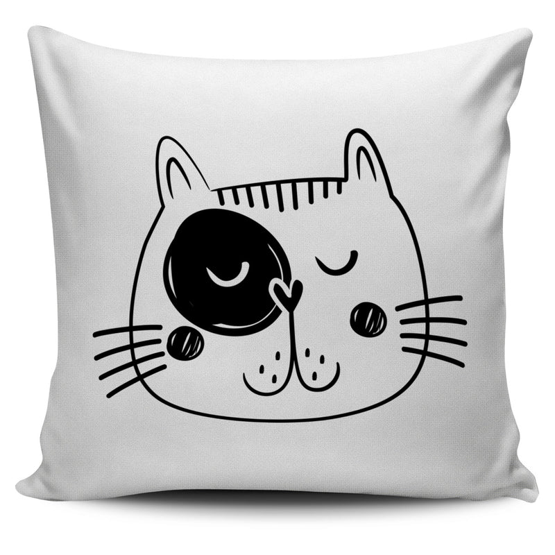 Hand Drawn Cat Faces Set With Words Pillow Covers