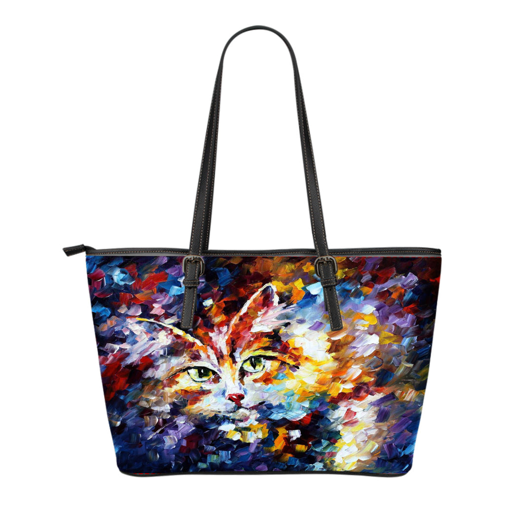 Cat Lovers Leather Tote Bag - Small