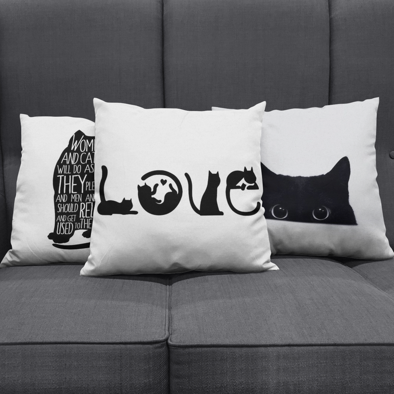 LOVE for BLACK Cats Pillow Cover