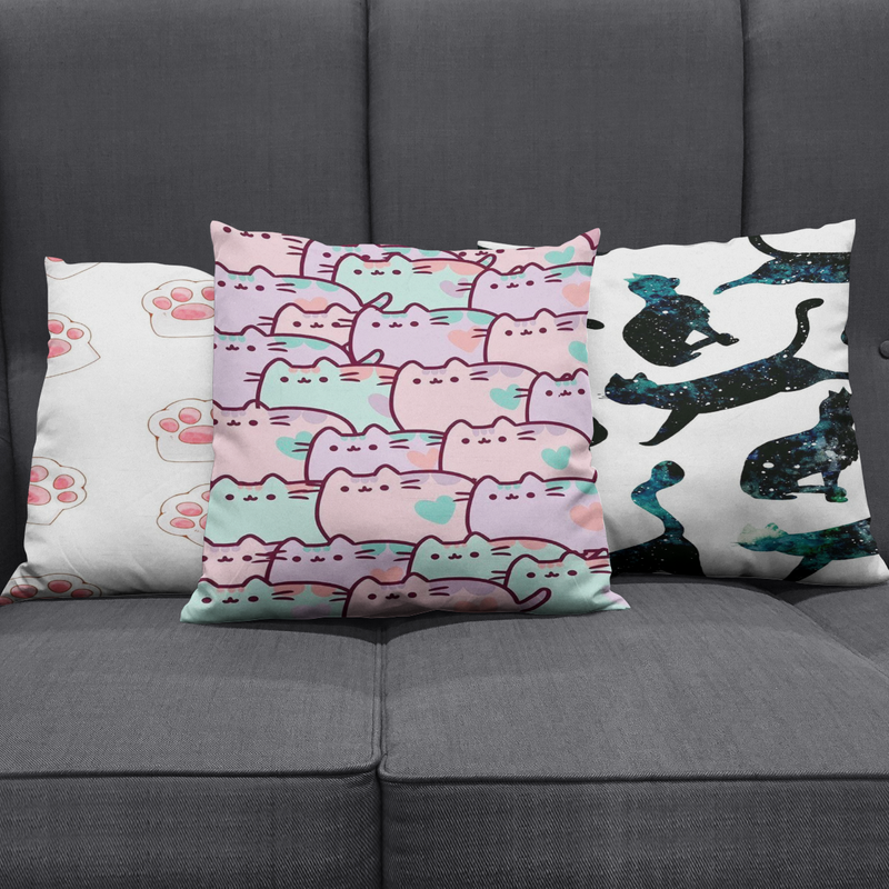 Pattern Design Cute Cats Pillow Cover