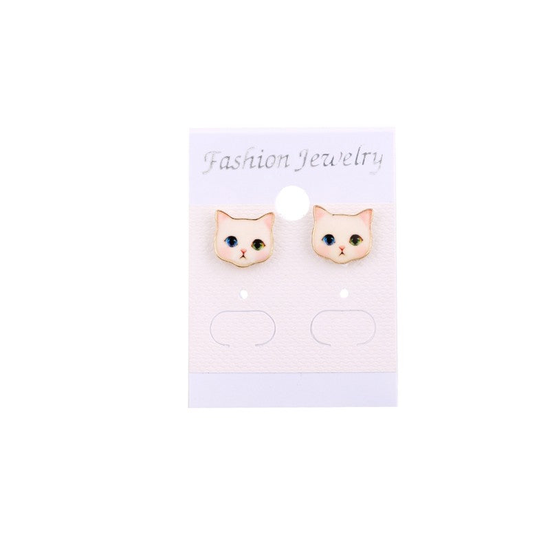Colorful Cute Cat Head with Pitiful Emotion Earrings - JUST PAY SHIPPING AND HANDLING