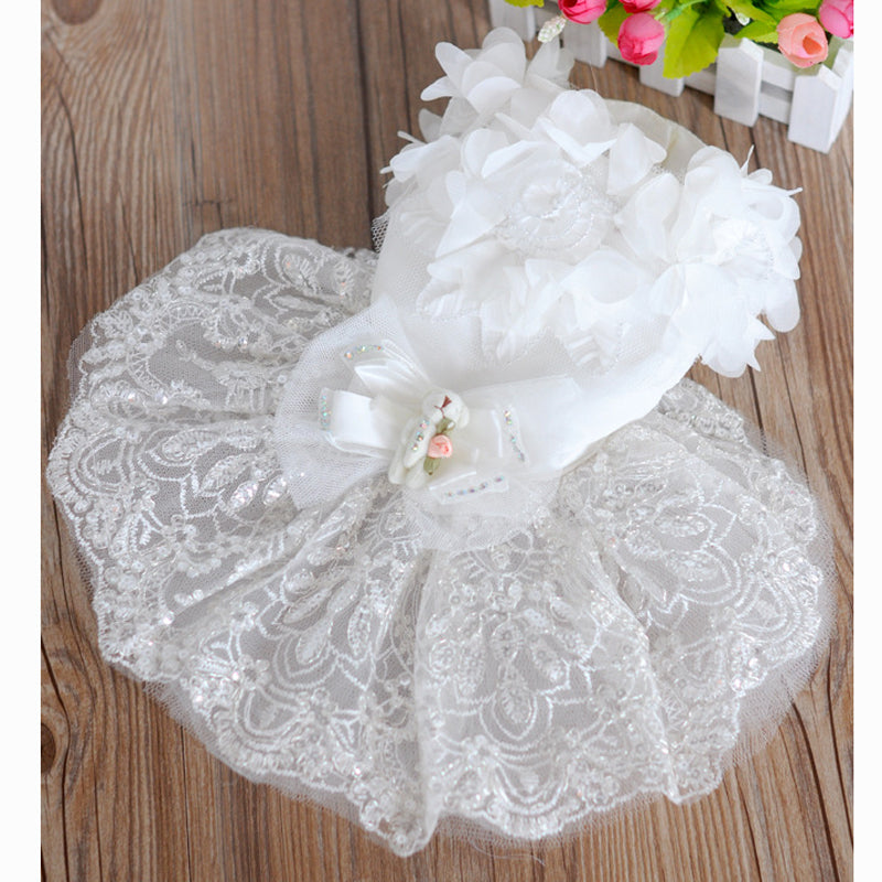 White lace Dog luxury wedding Dress costume